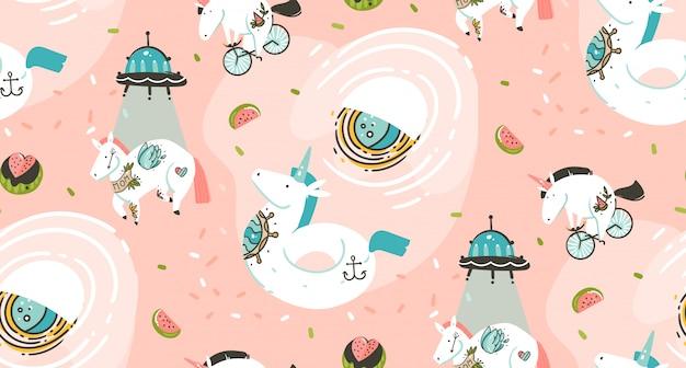 Mano dibujada de patrones sin fisuras con unicornios cosmonauta con tatuaje de la vieja escuela, nave espacial, cometas y planetas en el cosmos aislado sobre fondo rosa