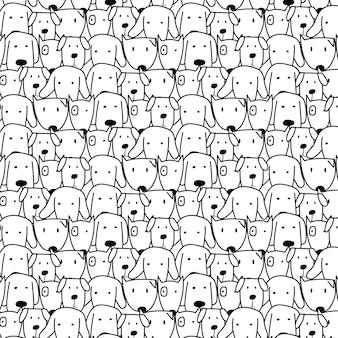 Mano dibujada perros lindos patrón de fondo.