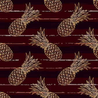 Mano dibujada piña de patrones sin fisuras con estilo de pincel