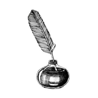 Mano dibujada pluma aislada sobre fondo blanco