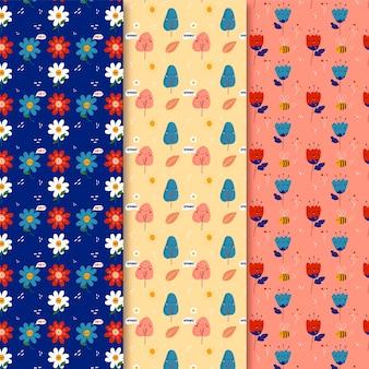 Mano dibujada primavera de patrones sin fisuras con flores y árboles