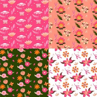 Mano dibujada primavera de patrones sin fisuras con flores en flor