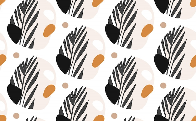 Mano dibujada vector abstracto ilustraciones gráficas creativas sin fisuras patrón de collage con hojas de palmeras exóticas tropicales mottif aislado sobre fondo blanco