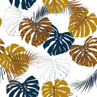 Mano dibujada vector mano libre con textura de hojas de palma tropical
