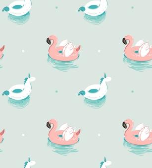Mano dibujada verano abstracto divertido de patrones sin fisuras con flotador de flamenco rosado y unicornio piscina boya círculo sobre fondo de agua azul.