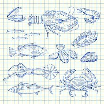 Mano dibujado elementos de mariscos en hoja de la célula