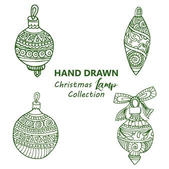 Mano dibujado fondo de lámparas de navidad