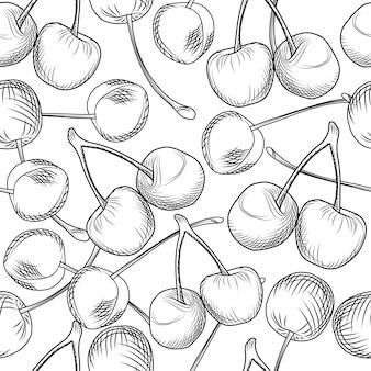 Mano dibujar cerezas de patrones sin fisuras sobre un fondo blanco