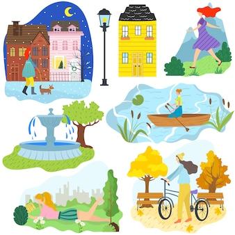 Mano dibujar chica actividad al aire libre diferentes estaciones y clima, mujer personaje de dibujos animados estilo de vida ilustración. montañas de verano, andar en bicicleta en el parque de otoño, perro caminando en la ciudad de invierno