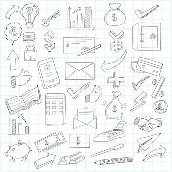 Mano dibujar conjunto de iconos de doodle de negocios