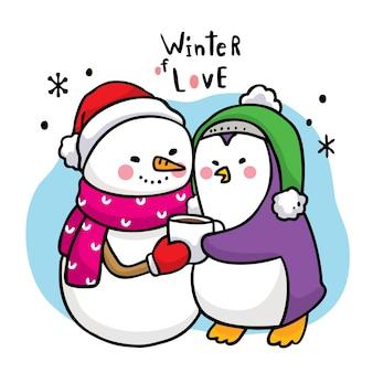 Mano dibujar dibujos animados lindo invierno muñeco de nieve abrazo pingüino y taza de café.