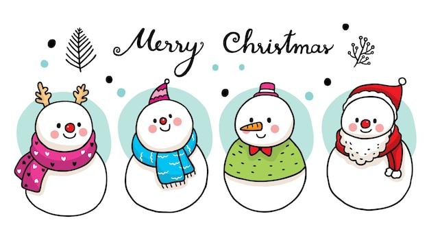 Mano dibujar dibujos animados lindo muñeco de nieve y bufanda.