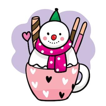 Mano dibujar dibujos animados lindo muñeco de nieve dulce en taza.