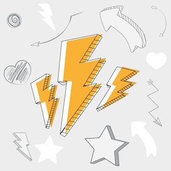 Mano dibujar dibujos animados de rayos y flechas