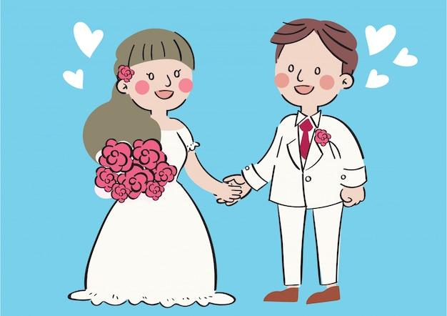 Mano dibujar dibujos animados romance boda pareja celebración