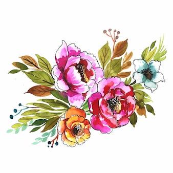 Mano dibujar diseño de acuarela de manojo de flores de colores decorativos