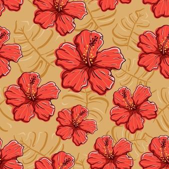 Mano dibujar flor de hibisco en patrones sin fisuras