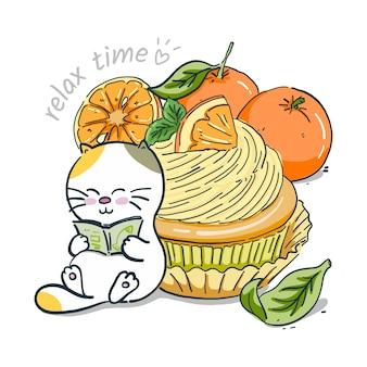 Mano dibujar gato con cupcake naranja
