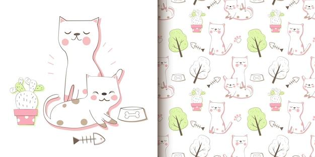 Mano dibujar gatos de patrones sin fisuras
