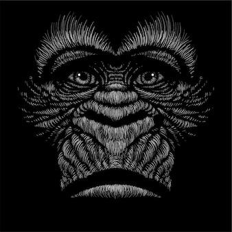 Mano dibujar ilustración de gorila