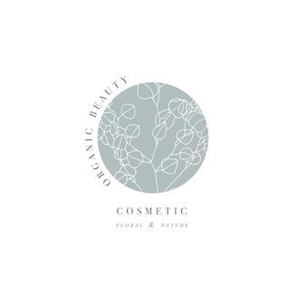 Mano dibujar la ilustración del logo de la rama de mucalyptus. guirnalda floral.