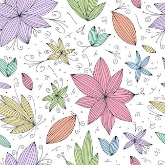 Mano dibujar patrón de doodle inconsútil con línea de flores