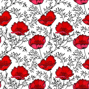 Mano dibujar patrón de flores de amapola roja