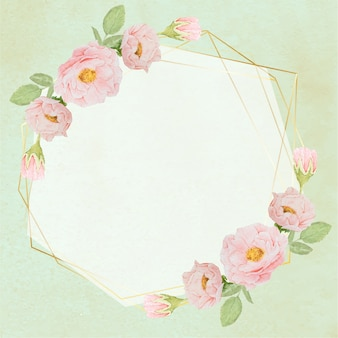 Mano dibujar rosas rosas acuarelas con corona de marco dorado sobre fondo grunge