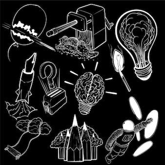 Mano dibujo conjunto de ilustración de concepto de ideas creativas