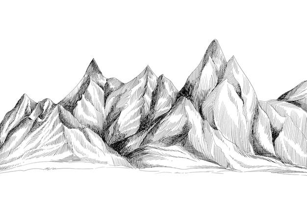 Mano dibujo diseño de boceto de paisaje de montaña