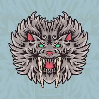 Mano dibujo tigre logotipo mascot ilustración
