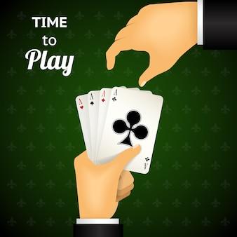 Mano de dibujos animados jugando a las cartas con cuatro ases que enfatizan el tiempo para jugar sobre fondo verde estampado.