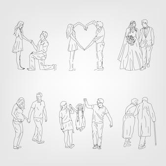Mano digital dibujada línea arte de hermosa pareja