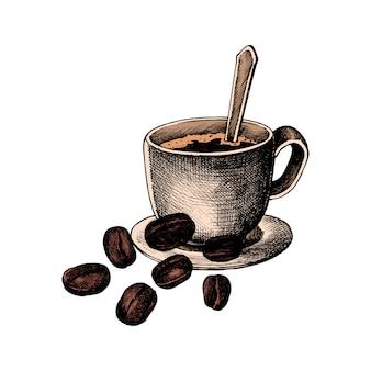 Mano drawm café y grano de café