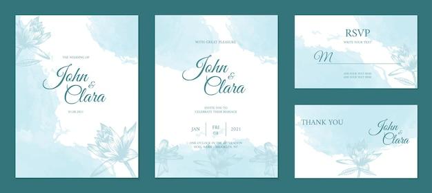 Mano elegante dibujo diseño floral de invitación de boda