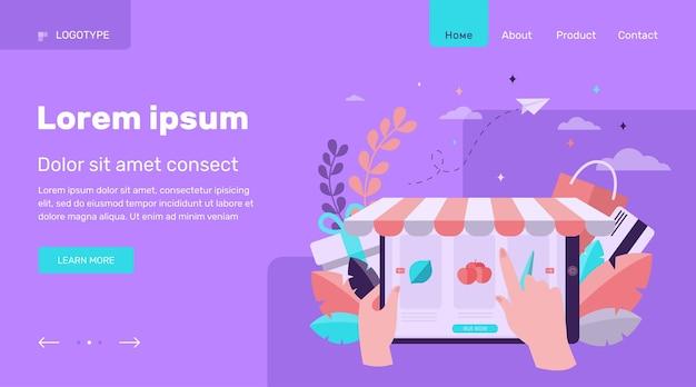 Mano eligiendo comestibles en línea. ilustración de vector plano de frutas, verduras, mercado. diseño de sitio web de concepto de comercio electrónico y tecnología digital o página web de destino