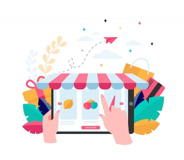 Mano eligiendo comestibles en línea