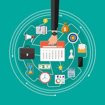 Mano del empresario con relojes. calendario, teléfono, informe, dinero, teléfono, maletín, reloj de arena. control de estrategia y tareas, planificación de proyectos empresariales, gestión del tiempo. estilo plano de ilustración