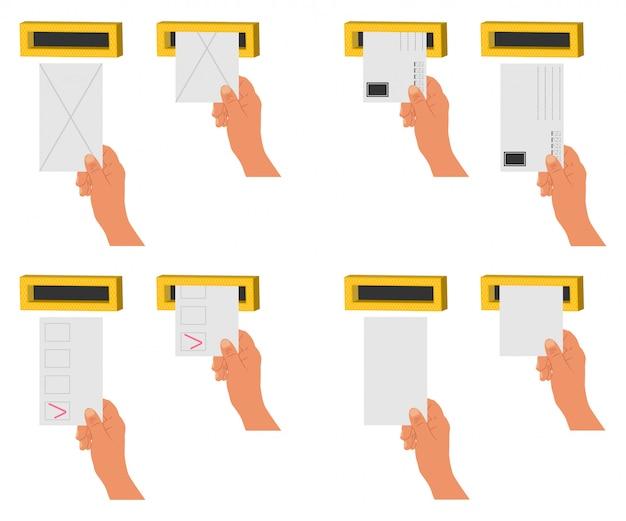 Mano enviar carta y espacios en blanco en un buzón. conjunto de iconos planos de dibujos animados vector aislado
