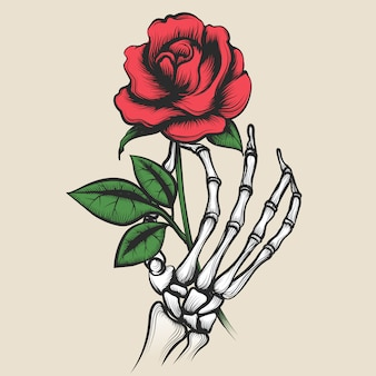 Mano de esqueleto con estilo de tatuaje de rosa