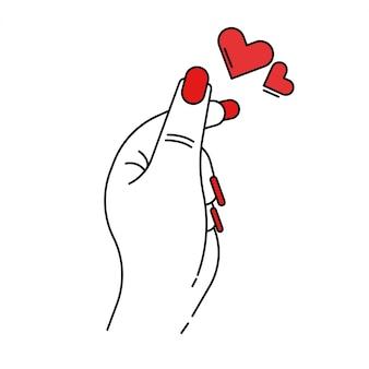 Mano femenina con corazones rojos ilustración