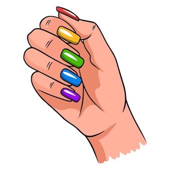 Mano femenina con una manicura completa. uñas pintadas. ilustraciones de vectores en estilo de dibujos animados para diseño y decoración.