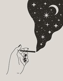 Mano femenina mística sosteniendo un cigarrillo con luna y estrellas en estilo boho de moda. ilustración de vector para impresión de pared, camiseta, diseño de tatuaje, para publicaciones en redes sociales e historias
