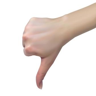 Mano femenina muestra disgusto con los pulgares hacia abajo, concepto de rechazo.