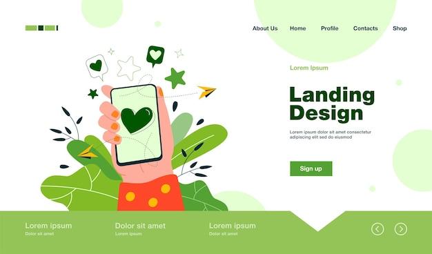Mano femenina que sostiene el teléfono con el corazón en la página de inicio de la pantalla en estilo plano