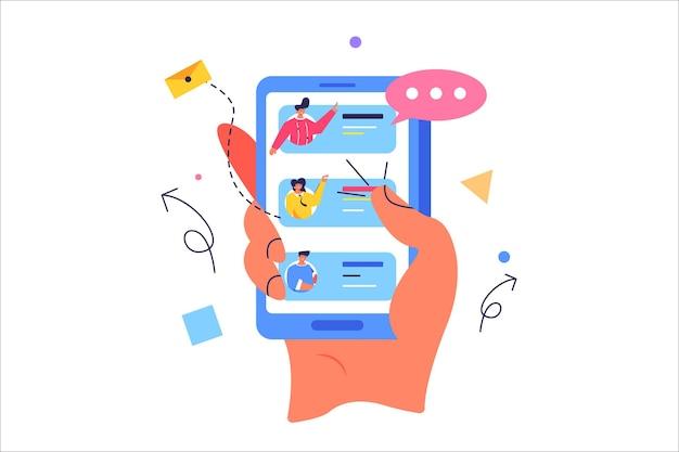 Mano femenina selecciona contactos de personas en el teléfono sosteniendo el teléfono en la mano, tocando la pantalla aislada sobre fondo blanco, ilustración plana