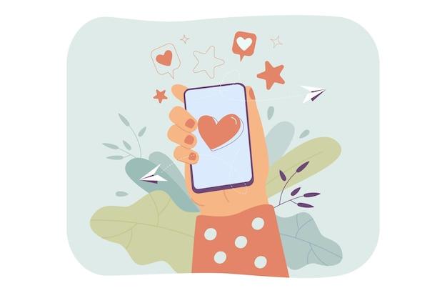 Mano femenina sosteniendo el teléfono con el corazón en la pantalla ilustración plana aislada.