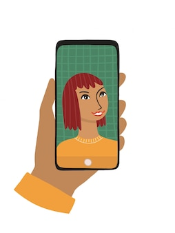 La mano femenina sostiene un teléfono inteligente. el concepto de fotografía, chat, videollamada. la mujer sonríe y se toma una selfie, la mano hace clic en un teléfono táctil. ilustración plana aislada sobre fondo blanco.