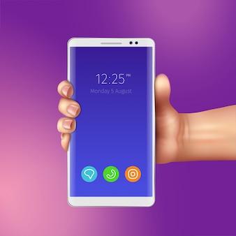 Mano femenina y teléfono inteligente blanco realista con iconos de aplicaciones móviles en la ilustración de la pantalla
