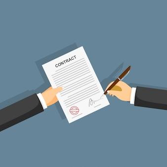 Mano firma contrato en papel blanco. ilustración vectorial